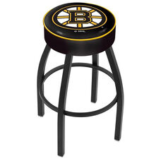 Boston Bruins 25'' Black Wrinkle Finish Swivel Backless Counter Height Stool with 4'' Thick Seat