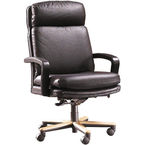 Quick Ship Leader Executive Chair with Wood Base
