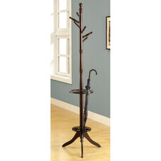 Stylish Solid Wood 71''H Coat Rack with Umbrella Stand - Cappuccino