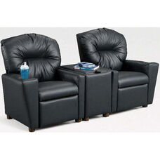 Kids 2-Seat Home Theatre Set with Armrest Drink Holders and Storage Console