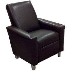 Kids Modern Faux Leather Recliner - Pecan Brown