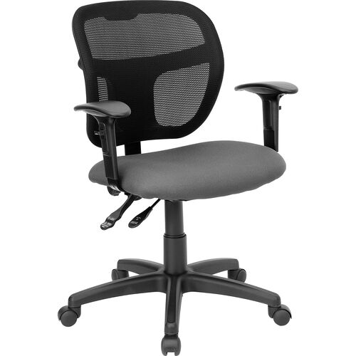Mid-Back Gray Mesh Swivel Task Chair with Adjustable Arms