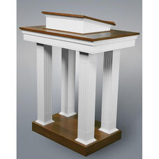 Red Oak Colonial Finish Open Pulpit with Square Fluted Column Legs