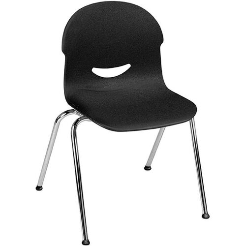 I.Q. Series Stack Chair with 17.5''H Plastic Seat and Chrome Frame - Black - 21.25''W x 20.62''D x 32.25''H