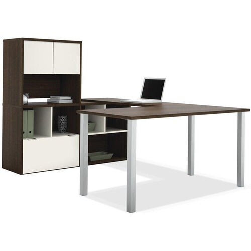 Contempo U-Shaped Desk with Open Storage and Filing Drawer - Tuxedo and Sandstone