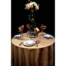 120'' Renaissance Stain Resistant Series Round Tablecloth - Khaki