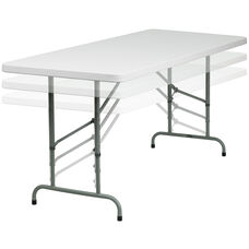 30''W x 72''L Height Adjustable Granite White Plastic Folding Table
