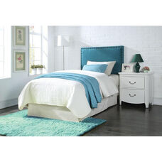 Sabina Padded Linen Headboard with Nailhead Trim - Queen / Full - Blue