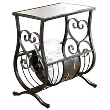 Scrolled and Woven Metal 22''H Magazine Table with Tempered Glass Top - Satin Black