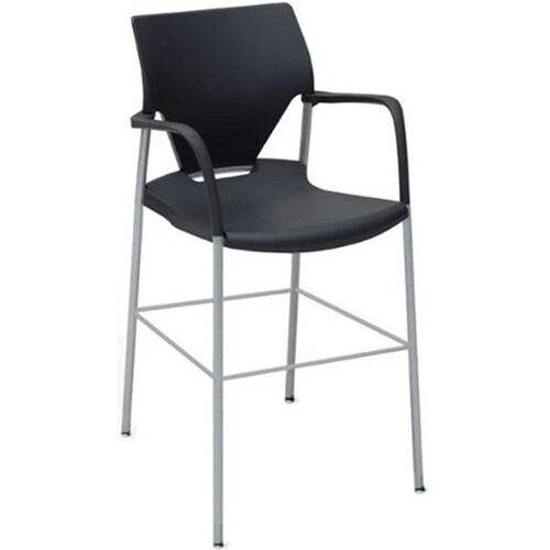 Arriva 45''H Steel Frame Bar Height Chair - Black Shell with Silver Grey Frame