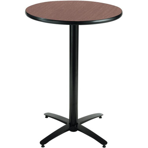 30'' Round Laminate Bistro Height Pedestal Table with Dark Mahogany Top - Black Arch Base