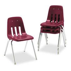 Virco® 9000 Series Classroom Chair - 18'' Seat Height - Wine/Chrome - 4/Carton