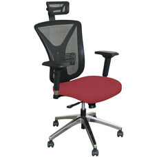 Fermata Executive Mesh Chair with Aluminum Base and Headrest - Raspberry Fabric