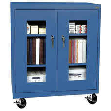 See-Thru Series 36'' W x 18'' D x 48'' H Clear View Mobile Counter Height Cabinet - Blue