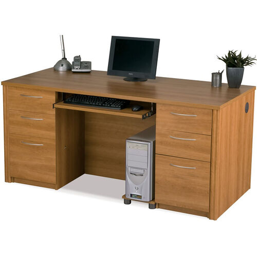Embassy Executive Desk Set with Keyboard Shelf and Filing Drawers - Cappuccino Cherry