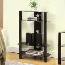 Concord Four Tiered 23''W x 37.5''H AV Stand with Tempered Glass Shelves and Black Steel Tube Frame