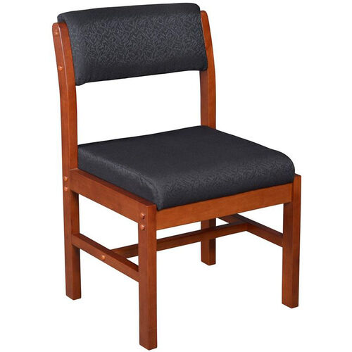 Belcino 34''H Armless Leg Base Side Chair with Cherry Wood Frame - Black