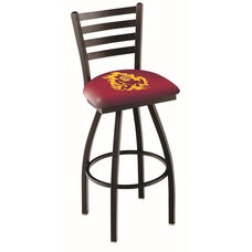 Arizona State University 25'' Black Wrinkle Finish Swivel Counter Height Stool with Ladder Style Back