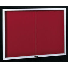 Contemporary Bulletin Board Sliding 2 Door Cabinet - 42''H x 60''W x 2.5''D