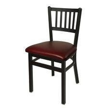Troy Metal Slat Back Chair - Burgundy Vinyl Seat