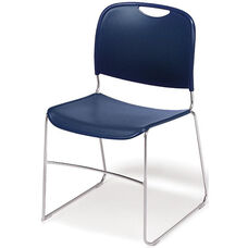 4800 Series Quick Ship Stackable Chair with Polished Chrome Frame - Navy - Set of Two