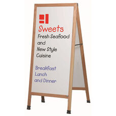 Extra Large A-Frame Sidewalk Board with White Porcelain Marker Board and Clear Lacquer Finished Solid Red Oak Frame - 30''W x 29''D x 68''H