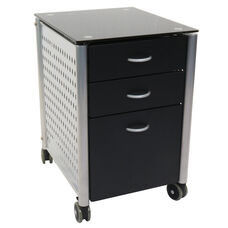 Three Drawer Filing Cabinet with Black Tempered Glass Top and Powder Coated Steel Frame