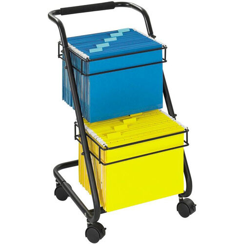 Jazz™ 15.75'' W x 19'' D x 28'' H Two Tier Mobile File Cart - Black