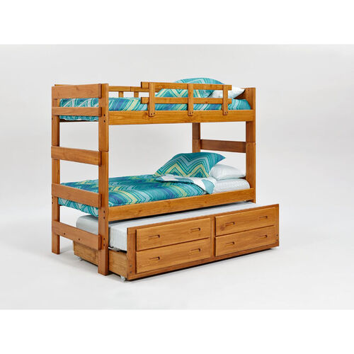 Rustic Style Solid Pine Bunk Bed with Trundle - Extra Long Twin - Honey