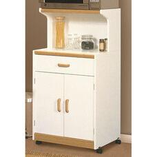 Universal 48.5''H Kitchen Cart with Bank Alder Accents - White with Bank Alder Accents