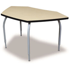 ELO Bridge High Pressure Laminate Table with Adjustable Legs and 1.25'' Beveled Armor Edge Top - 61''W x 33.3''D x 26-31''H