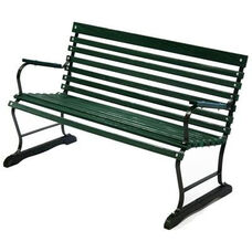 Terrace Style Russian Hardwood Slat and Black Steel Frame Bench with Arms - Green