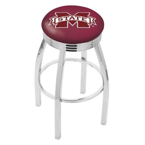 Mississippi State University 25'' Chrome Finish Swivel Backless Counter Height Stool with 2.5'' Ribbed Accent Ring