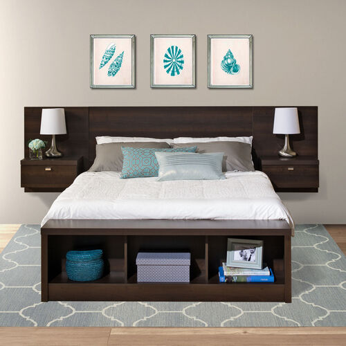 Series 9 Designer Floating Queen Size Headboard with Attached Nightstands - Espresso
