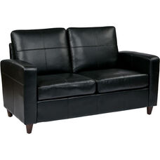 OSP Furniture Eco Leather Loveseat with Espresso Finish Legs - Black