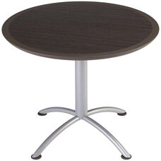 iLand Round Steel Frame 29''H Conference Table with Urethane Edge - Gray Walnut with Silver Legs
