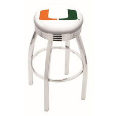 University of Miami 25'' Chrome Finish Swivel Backless Counter Height Stool with 2.5'' Ribbed Accent Ring