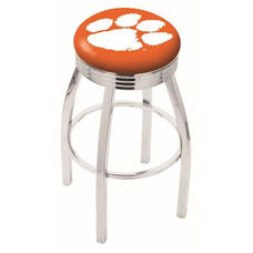 Clemson University 25'' Chrome Finish Swivel Backless Counter Height Stool with 2.5'' Ribbed Accent Ring
