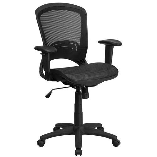 Mid-Back Transparent Black Mesh Executive Swivel Chair with Adjustable Arms