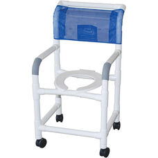 Standard Deluxe Shower Chair with Open Front Seat - 22''W X 18''D X 40''H - With Casters