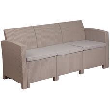 Charcoal Faux Rattan Sofa with All-Weather Light Gray Cushions