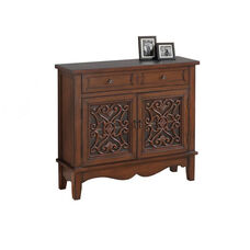 Traditional Birch 32''H Accent Chest with Scroll Overly Glass Doors - Dark Walnut