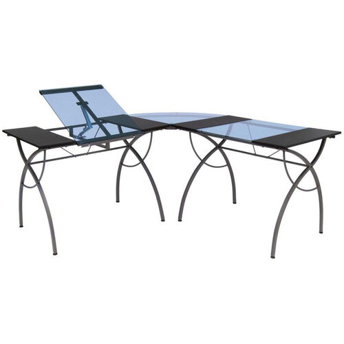 Catalina L Shaped Writing Desk and Steel Workcenter with Adjustable Angle Top - Pewter