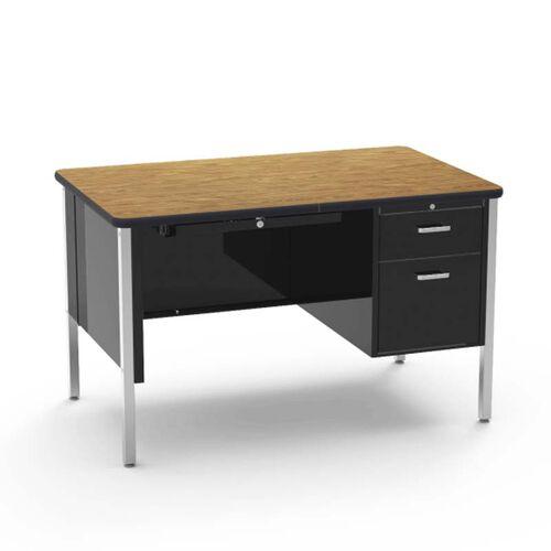 Quick Ship 540 Series Traditional Single Pedestal Teachers Desk with Medium Oak Top and Black Frame - 30''W x 48''D x 30''H