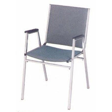 Endurance Contemporary Contoured Seat Stack Chair with Arms - Chrome Frame