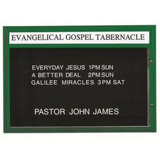 Double Sided Illuminated Community Board with Header and Green Powder Coat Finish - 42''H x 60''W