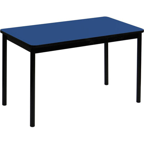 High Pressure Laminate Rectangular Lab Table with Black Base and T-Mold - Blue Top - 24''D x 72''W