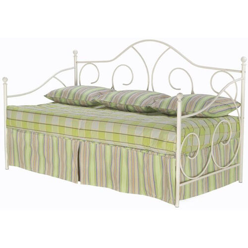 Caroline Scrolled Metal Daybed with Link Spring and Pop-Up Trundle -White