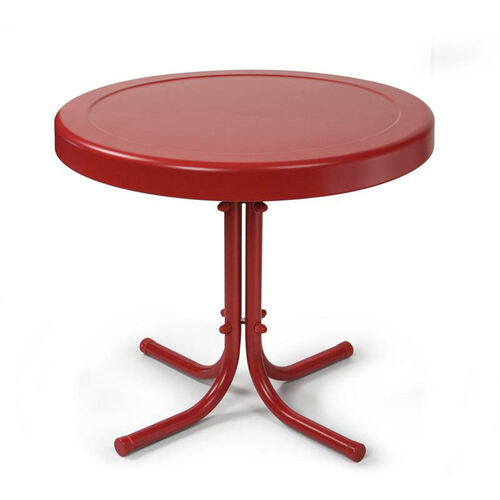 Retro Metal Side Table in Coral Red