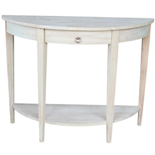 Butcher Block Top Solid Parawood 42''W X 32''H Half Moon Console Table with Drawer- Unfinished